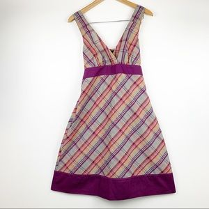 Patagonia Organic Cotton Blend Purple Plaid Dress